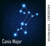 """The constellation """" Canis Major"""" star in the night sky. Vector illustration"""