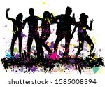 dancing people silhouettes.... | Shutterstock . vector #1585008394