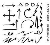 hand drawn arrow mark icons set.... | Shutterstock .eps vector #1585053721
