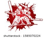 group of cricket players action ... | Shutterstock .eps vector #1585070224