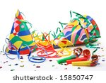 party hats  paper streamer and  ... | Shutterstock . vector #15850747