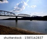 Ohio river banks along border of Evansville Indiana and Kentucky.
