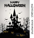 halloween background with... | Shutterstock .eps vector #158516294