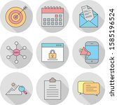 set of 9 universal icons for... | Shutterstock .eps vector #1585196524