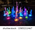Colorful Water Fountain At Night