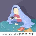 illustration of a teenage guy... | Shutterstock .eps vector #1585291324