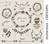 vintage frames and hand drawn... | Shutterstock .eps vector #158531891