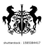 heraldic coat of arms with two... | Shutterstock .eps vector #1585384417