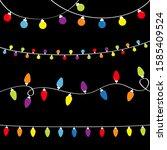 christmas lights set. holiday... | Shutterstock .eps vector #1585409524