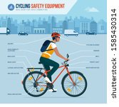 cycling safety equipment and... | Shutterstock .eps vector #1585430314