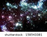 Fantasy night sky with stars - stock photo