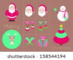 christmas icons objects... | Shutterstock .eps vector #158544194