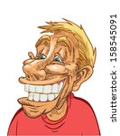 funny face with big toothy... | Shutterstock .eps vector #158545091
