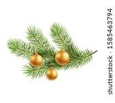 christmas tree with golden... | Shutterstock . vector #1585463794