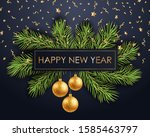 happy new year gold text on... | Shutterstock . vector #1585463797
