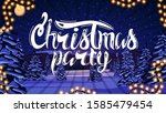 christmas party  white sign on... | Shutterstock .eps vector #1585479454