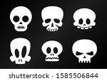 funny halloween skulls vector... | Shutterstock .eps vector #1585506844