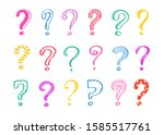 set of hand drawn question... | Shutterstock .eps vector #1585517761