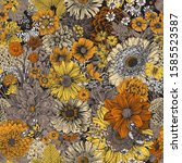 seamless floral pattern 70s.... | Shutterstock .eps vector #1585523587