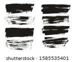 flat paint brush thin full... | Shutterstock .eps vector #1585535401