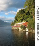 View to the famous Italian lake Como near Varenna town - stock photo