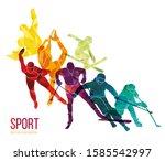 colorful sportsmen  athletes...   Shutterstock .eps vector #1585542997