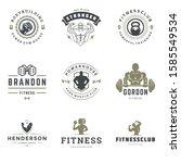 fitness center and sport gym... | Shutterstock .eps vector #1585549534
