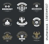 fitness center and sport gym... | Shutterstock .eps vector #1585549537
