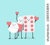 cute cartoon character pills.... | Shutterstock .eps vector #1585553854