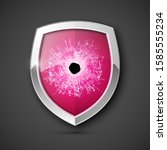 protected guard bullet hole... | Shutterstock . vector #1585555234
