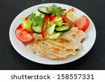 grilled turkey with salad | Shutterstock . vector #158557331