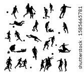 silhouettes of football players ... | Shutterstock .eps vector #1585665781