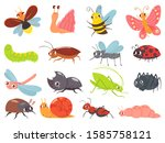 cartoon bugs. baby insect ... | Shutterstock .eps vector #1585758121