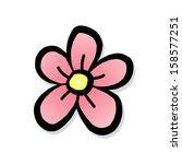 Single Pink Flower   Cartoon...