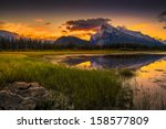 golden early fall sunrise over... | Shutterstock . vector #158577809