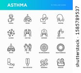 asthma thin line icons set ... | Shutterstock .eps vector #1585789537