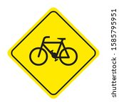 bicycle road sign on yellow... | Shutterstock .eps vector #1585795951