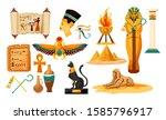 set of isolated egyptian or... | Shutterstock .eps vector #1585796917