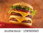 classic double cheeseburger...   Shutterstock . vector #158583065