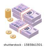 isometric stacks of 500 thai... | Shutterstock .eps vector #1585861501