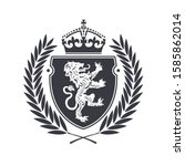 coat of arms with heraldic lion ... | Shutterstock .eps vector #1585862014