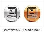 black line 3d printer icon... | Shutterstock .eps vector #1585864564
