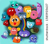 funny monsters give way to moods   Shutterstock . vector #1585935637