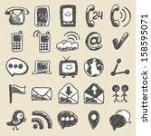 hand drawn communication icons | Shutterstock .eps vector #158595071