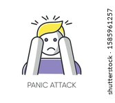panic attack color icon.... | Shutterstock .eps vector #1585961257