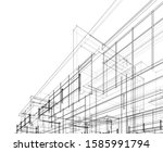 house building architecture... | Shutterstock .eps vector #1585991794