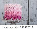 pink rosette  wedding cake | Shutterstock . vector #158599511