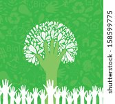 hand style save the earth tree... | Shutterstock .eps vector #158599775