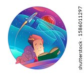 vector illustration. a guy...   Shutterstock .eps vector #1586011297