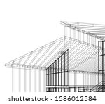 house building architecture... | Shutterstock .eps vector #1586012584